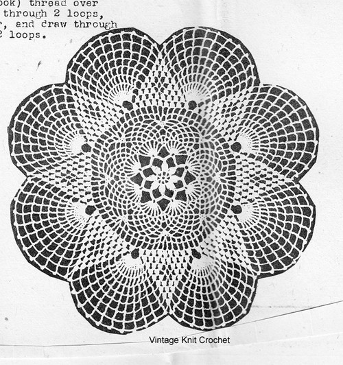 Star Crocheted Doily Pattern, Fan Border, Needlework Bureau E-1102