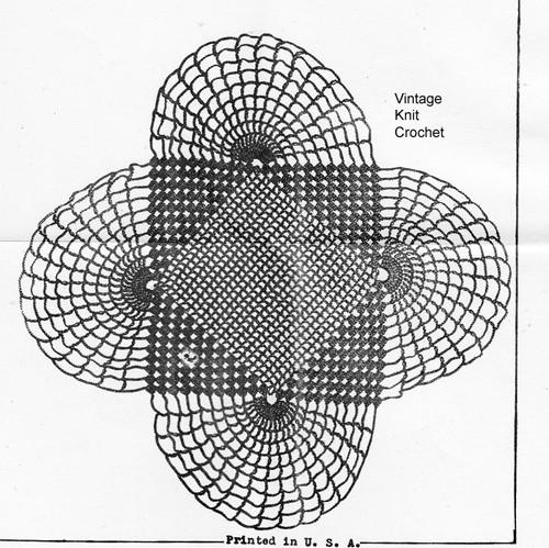 Easy Fan Doily crochet pattern illustration, Needlework Bureau 1140