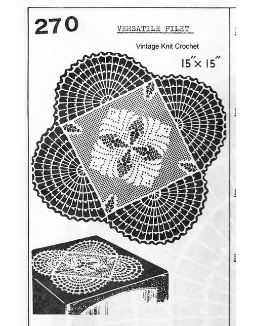 Crochet Fan Filet Doily Pattern, Mail Order 270