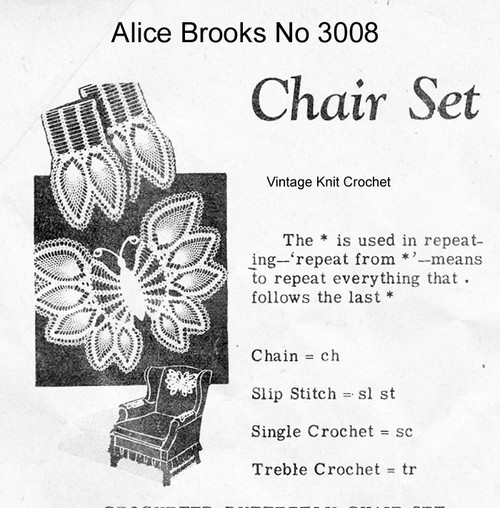 Crocheted Butterfly Chair Doily Pattern, Mail Order 3008
