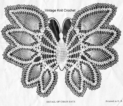 Vintage Crochet Butterfly Pattern Illustration, American Weekly 3008