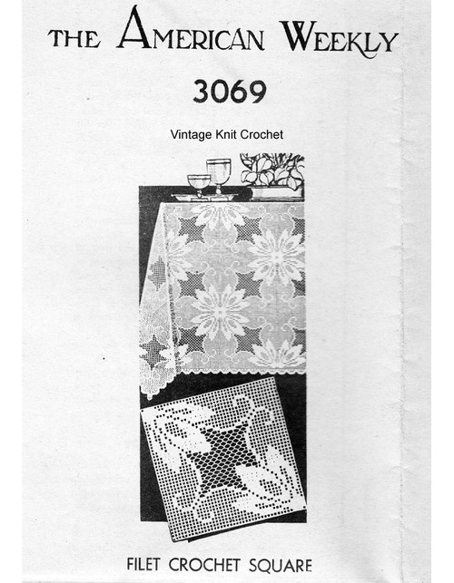 Filet Crochet Tablecloth Pattern Mail Order 3069