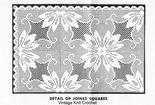 Filet Flower Crochet Tablecloth Pattern No 3069