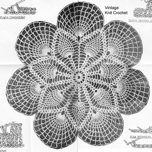 Crocheted Fan Doily Pattern, Mail Order E-809