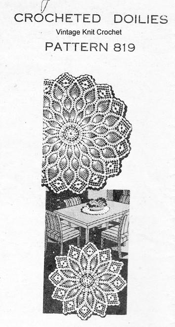 Pineapple Wheel Crochet Doily Pattern Design 819