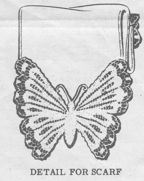 Crochet Butterfly Illustration for Buffet Scarf, Mail Order 382