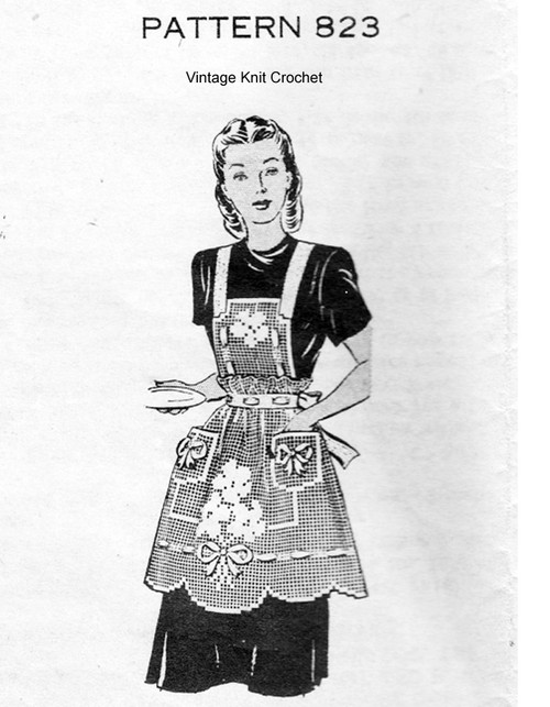 Treble Crochet Apron Pattern, Mail Order 823