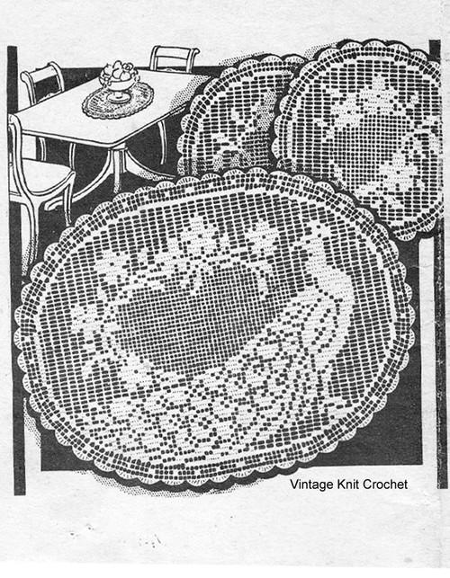 Peacock Filet Crocheted Doilies Pattern, Laura Wheeler 1671