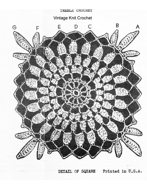 Crochet Chrysanthemum square illustration, laura Wheeler 357