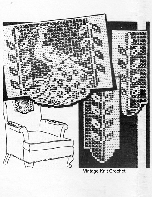 Mail Order Filet Crochet Peacock Chair Set, Design 1550