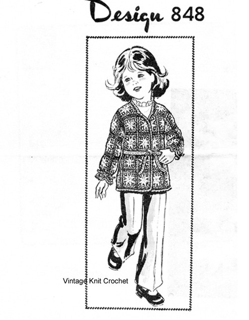 Girls Granny Crocheted Jacket Pattern, Laura Wheeler 848