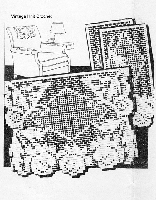 Mail Order Filet Crochet Butterfly Chair Set Pattern Design 1309