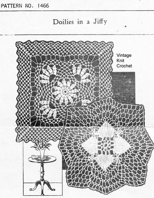 Crochet square flower doily pattern, Needlework Bureau 1466