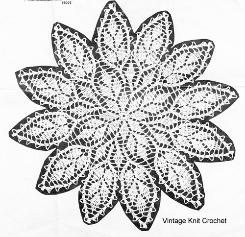 Vintage Crochet Petal Doily Pattern, Martha Madison 1150