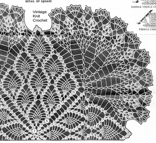 Pineapple Doily Crochet Stitch Illustration, Design 982