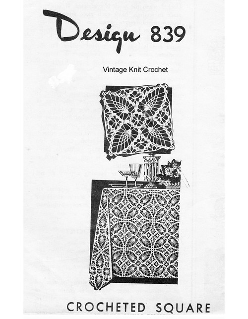 Pineapple Crocheted Tablecloth Pattern Square, Mail Order 839