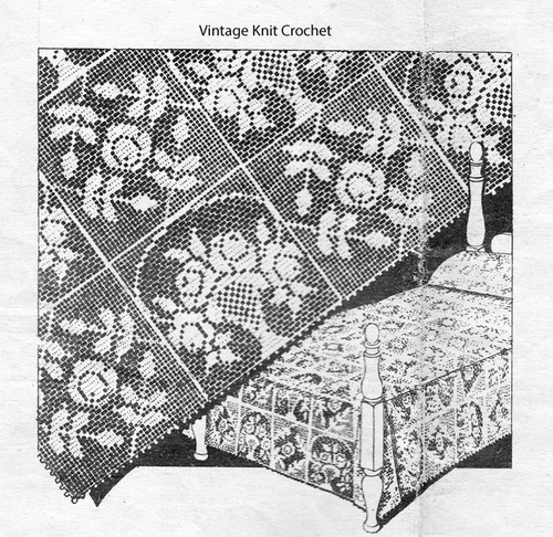 Vintage Filet Crochet Rose Bedspread Pattern, Mail Order 1338