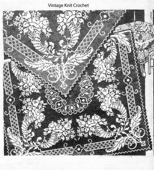 Vintage Cornucopia Cloth Pattern, Filet Crochet, Mail Order Design 2379