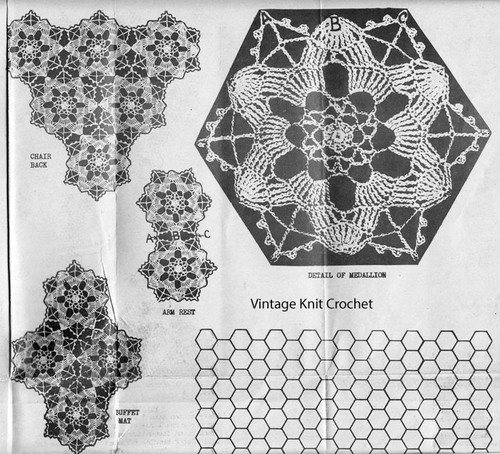 Crochet Medallions Joined Illustration for Design 1345