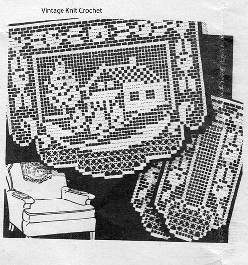 Vintage Filet Crochet Chair Set Pattern, House in trees motif, Design 1713
