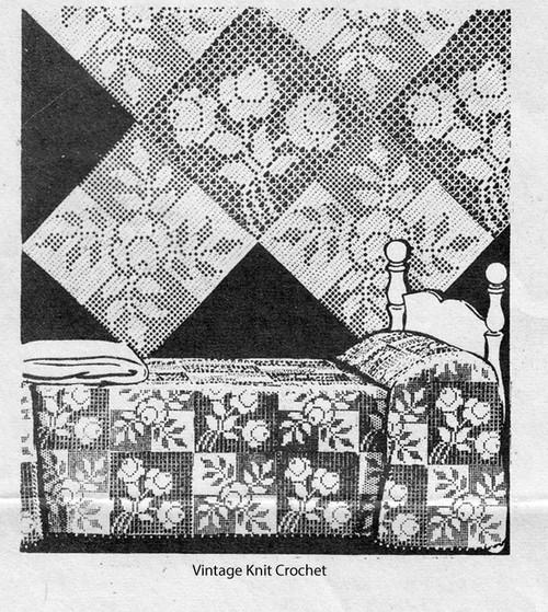 Filet Crochet Rose Bedspread Pattern, Alice Brooks 7052