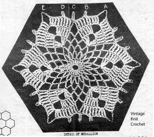 Crochet Star Medallion Pattern, 5-1/2 inches