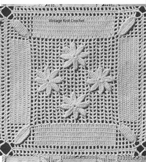 Vintage Crocheted Daisy Square Pattern No 660