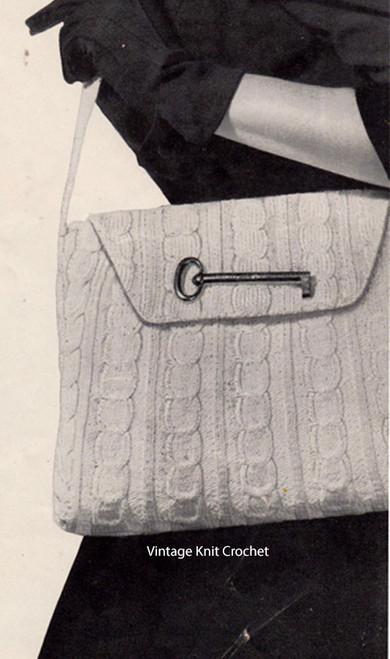 Knitted Cable Bag Pattern, Shoulder Straps