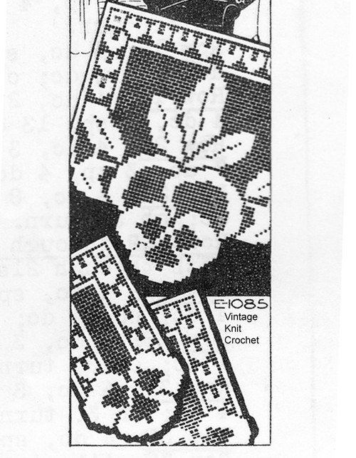 Vintage Filet Crochet Pansy Pattern No E-1085