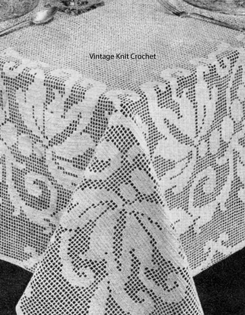Floral Filet Crochet Tablecloth Pattern, 80 x 100