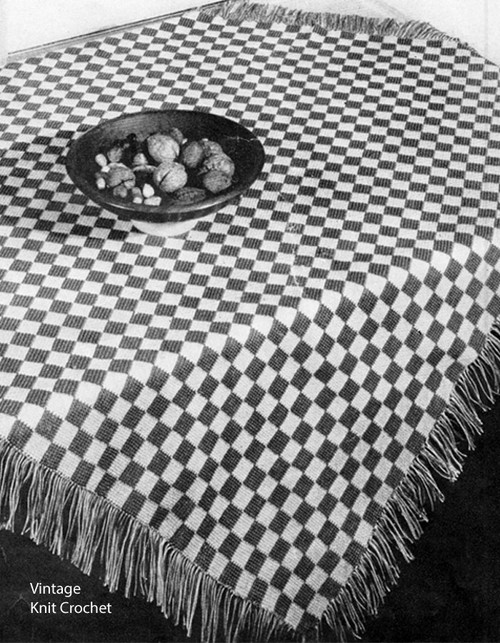 Crochet Kitchen Checks Cloth Pattern No 7618
