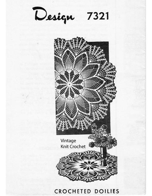 Pineapple Wheel Crochet Doily Pattern Design 7321