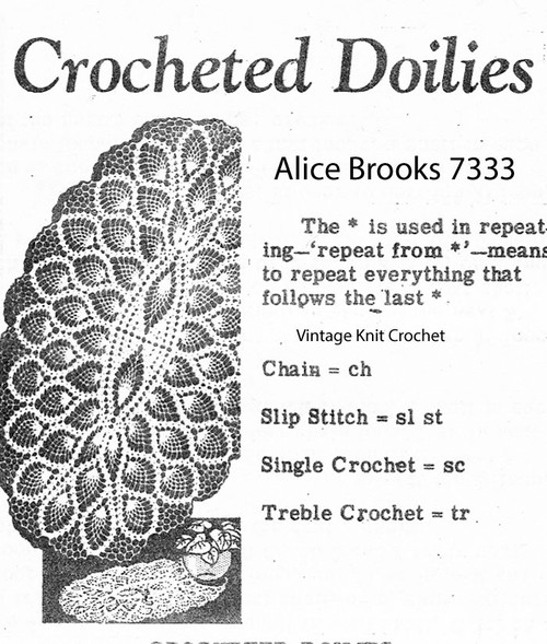 Mail Order Pineapple Crochet Oval Doily Pattern, Design 7333