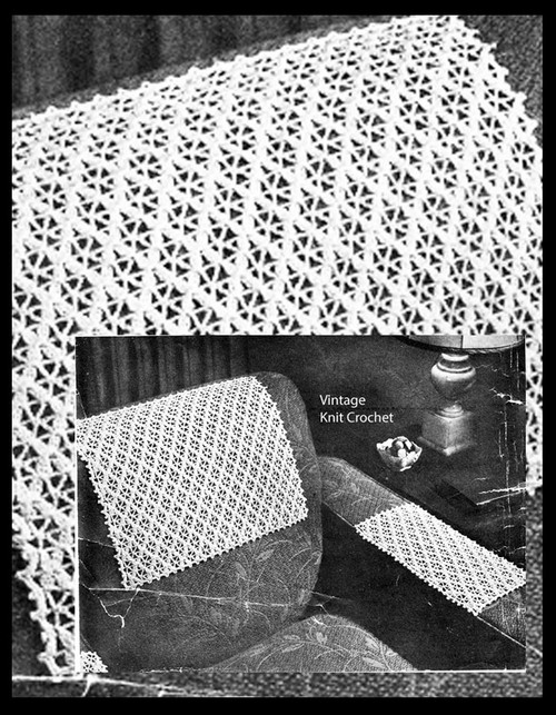 Crochet treble stitch lace chair set pattern No 4-60
