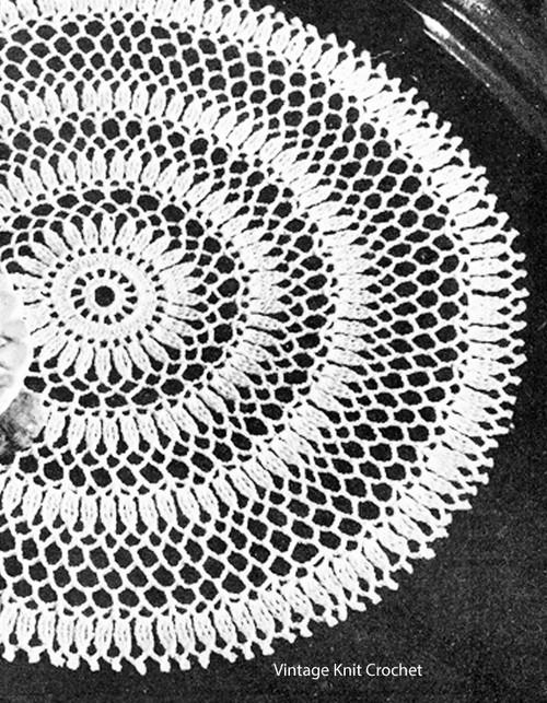 Crochet Cluster Doily Pattern, Vintage 1945