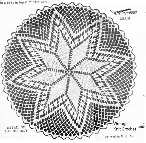 Large Star Doily Crochet Pattern Illustration, Design 2937