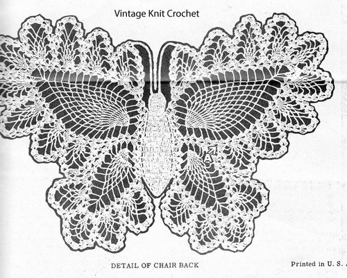 Crochet butterfly illustration for Chair Back No 3025