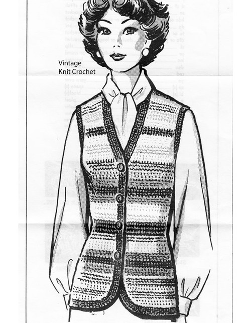 Mail Order Striped Vest Crochet Pattern, Anne Cabot 5841