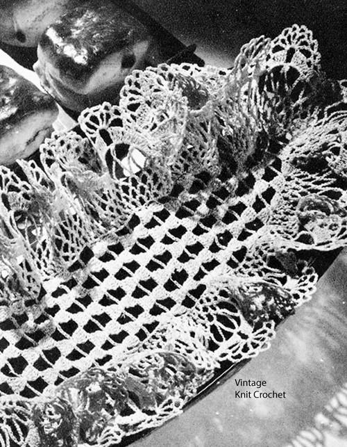 Crochet Ruffled Bread Tray Doily Pattern No 4-88