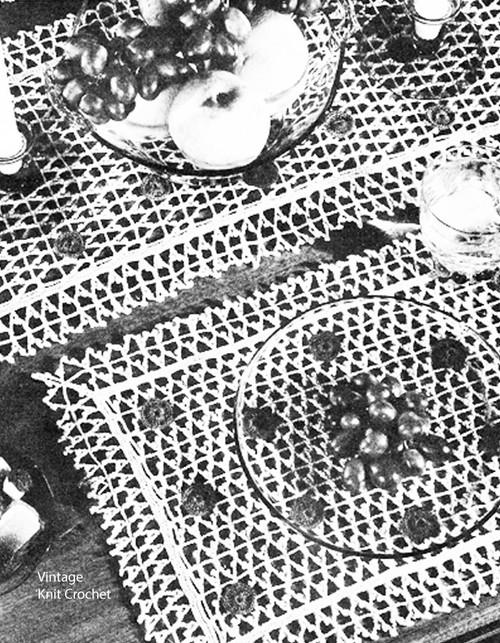 Vintage Polka Dot Crochet Placemats Pattern