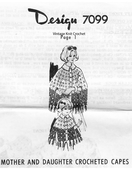 Mother Daughter Crochet Capes Pattern Design 7099