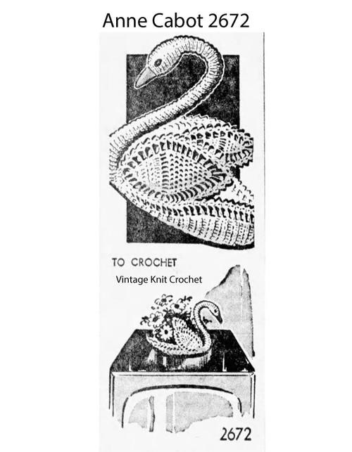 Mail Order Crocheted Swan Centerpiece Pattern No 2672
