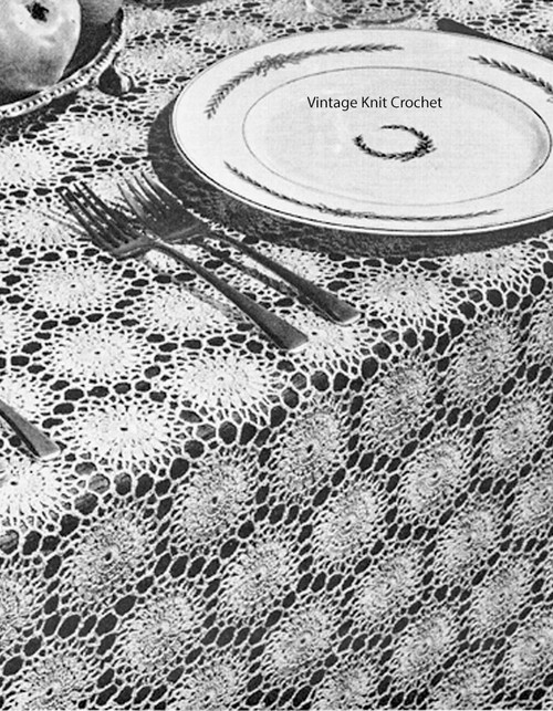 Crochet Medallion Tablecloth Pattern No 4-80