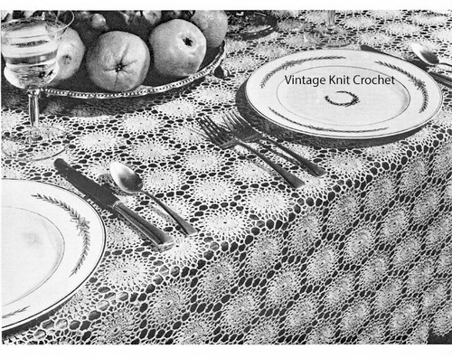 Vintage Crochet Tablecloth pattern of round medallions