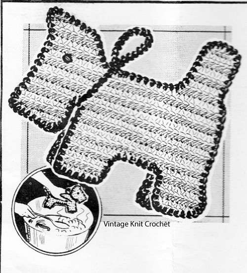 Crocheted Scottie Dog Potholder Pattern, Anne Cabot 5471