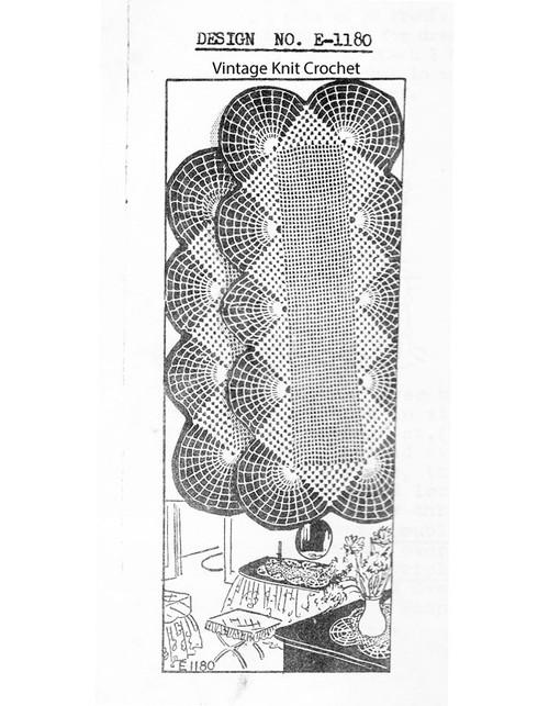 Crochet Runner Pattern, Double Fan, Mail Order E-1180