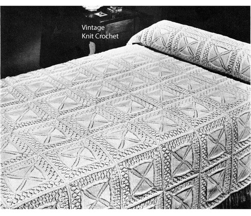 Square Block Knitted Bedspread Pattern