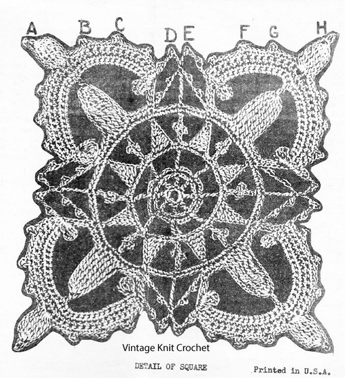 Vintage Medallion Crochet Illustration for Design 1385