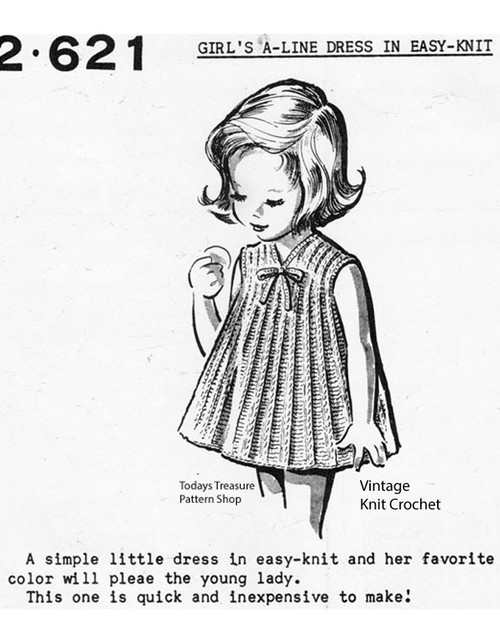 Knitted Girls Dress Pattern, Anne Cabot 2621
