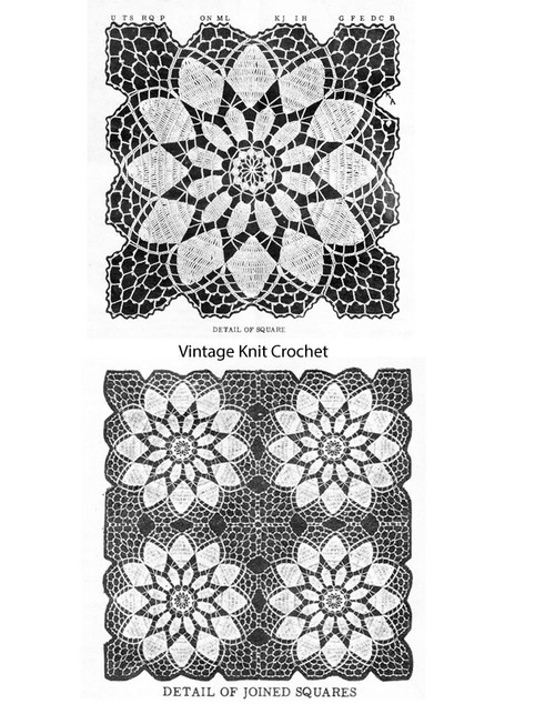 Crocheted Flower Square Illustration, Design 576